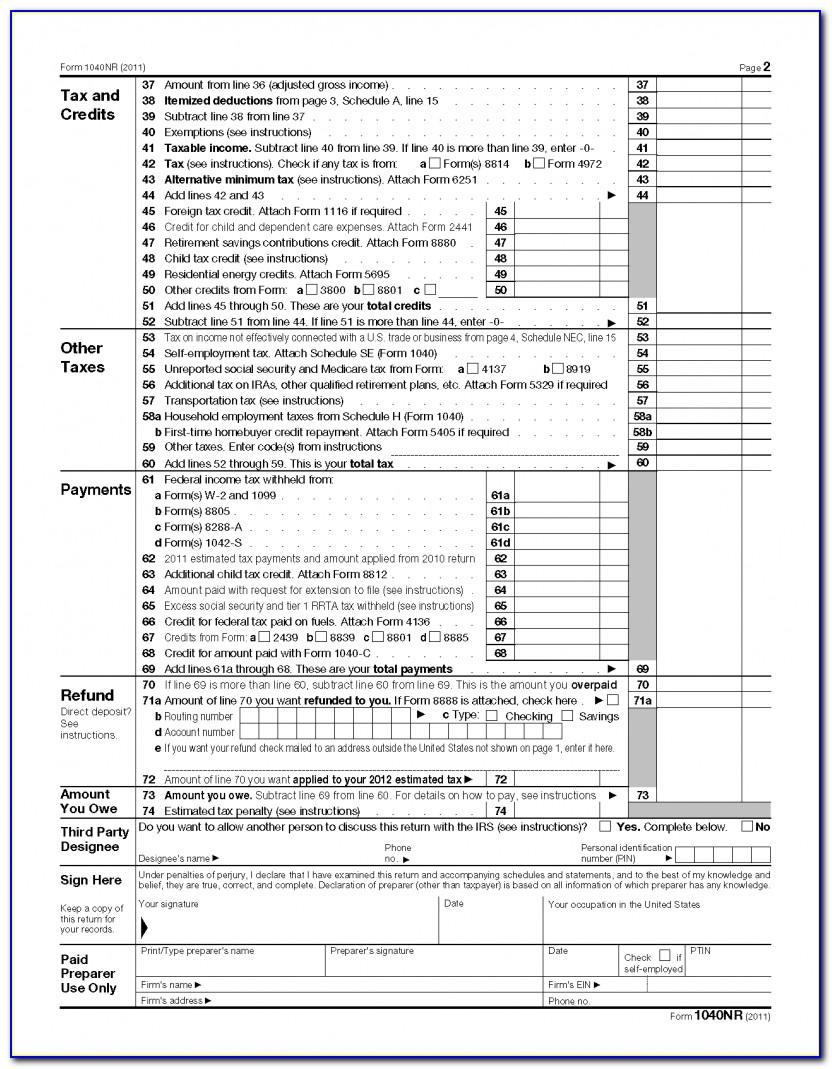 1040ez Form Example