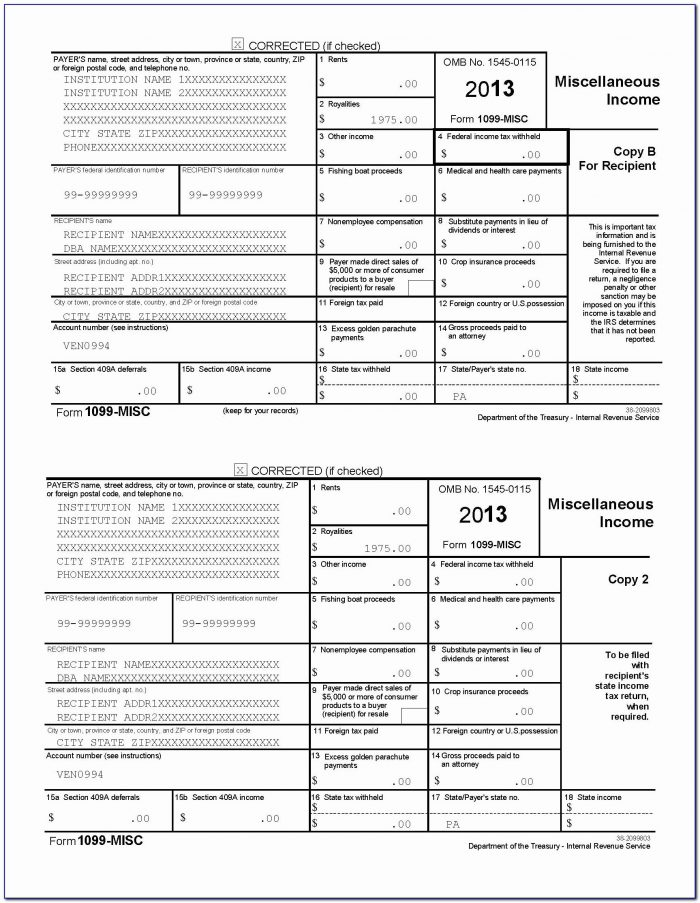 Irs 1099 Misc Template Best Of 1099 Misc Template For Preprinted With Regard To 1099 Template 2016 Word
