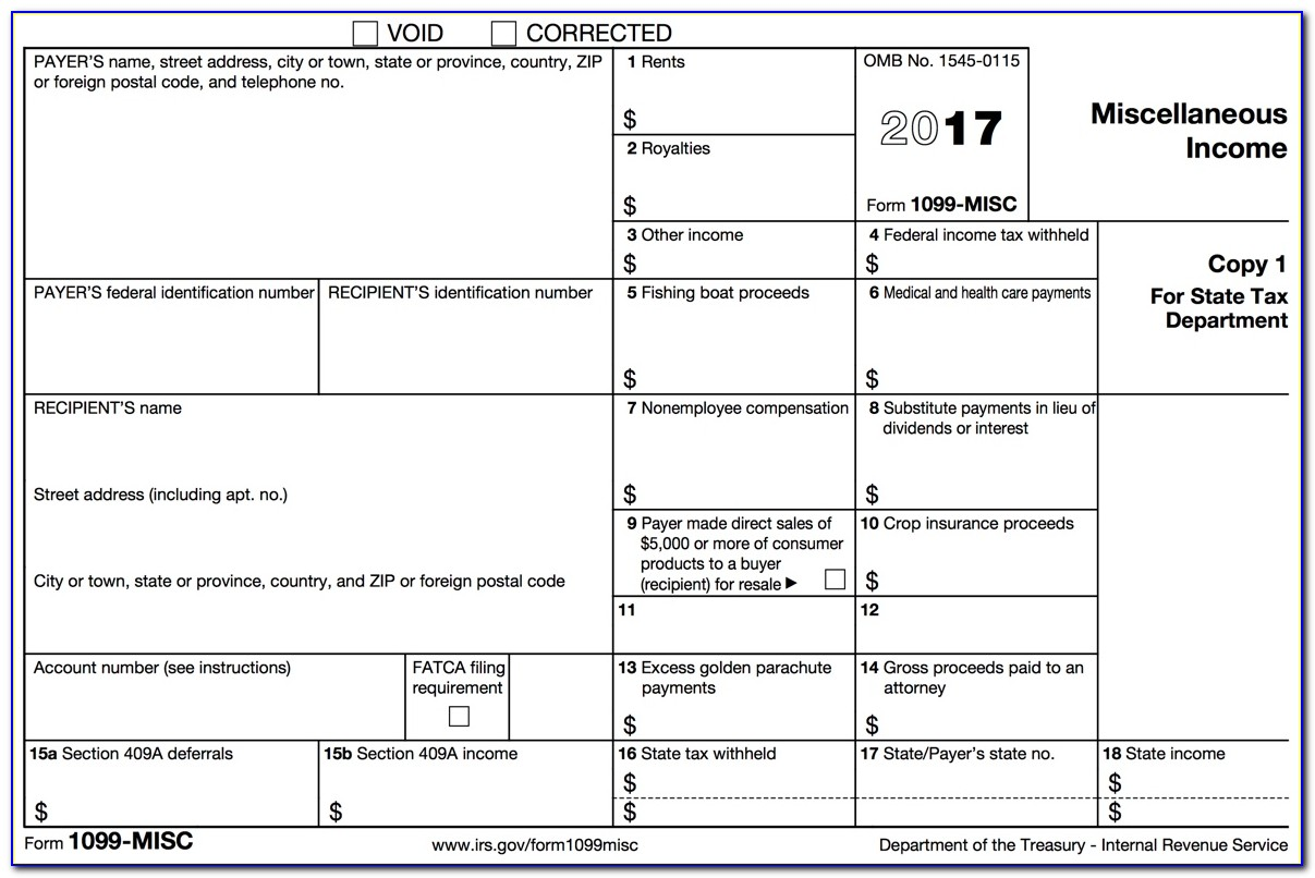 1099 Tax Form 2017 Fillable