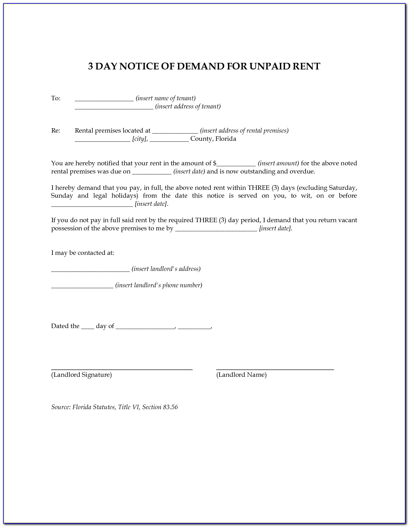 3 Day Eviction Notice Form Palm Beach County Florida