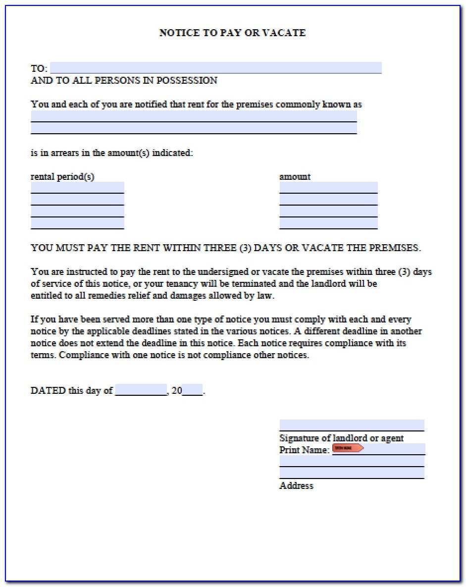 3 Day Notice To Vacate Form Texas