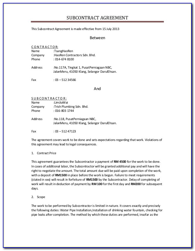 A401 Standard Form Of Agreement Between Contractor And Subcontractor