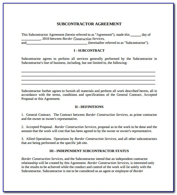 A401tm–2007 Standard Form Of Agreement Between Contractor And Subcontractor