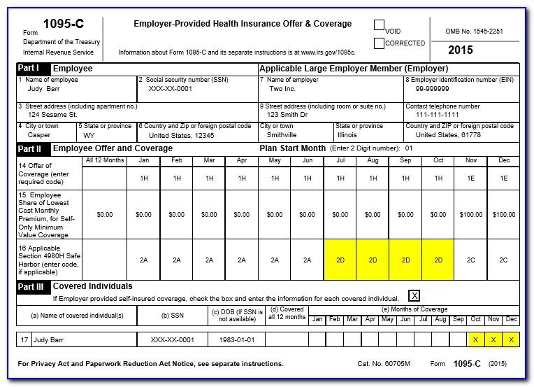 Aca Form 1095 C Examples