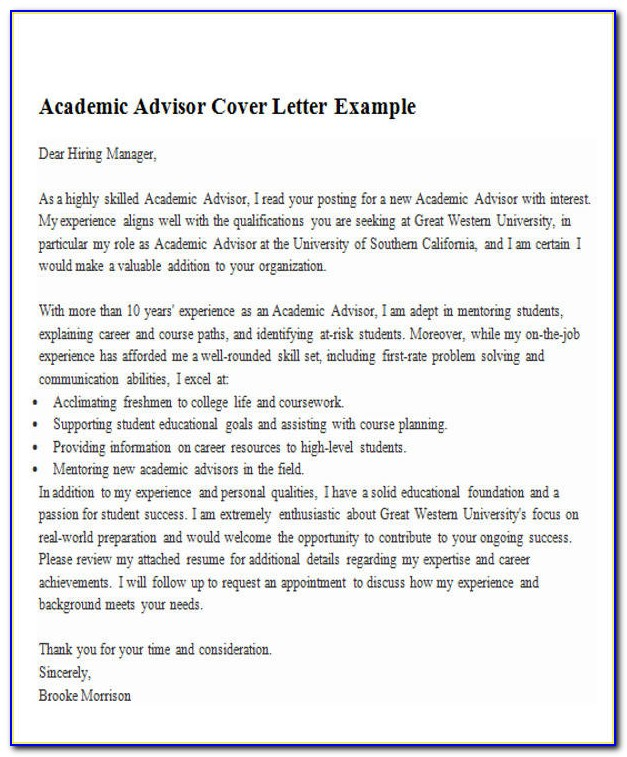Academic Advisor Cover Letter Example