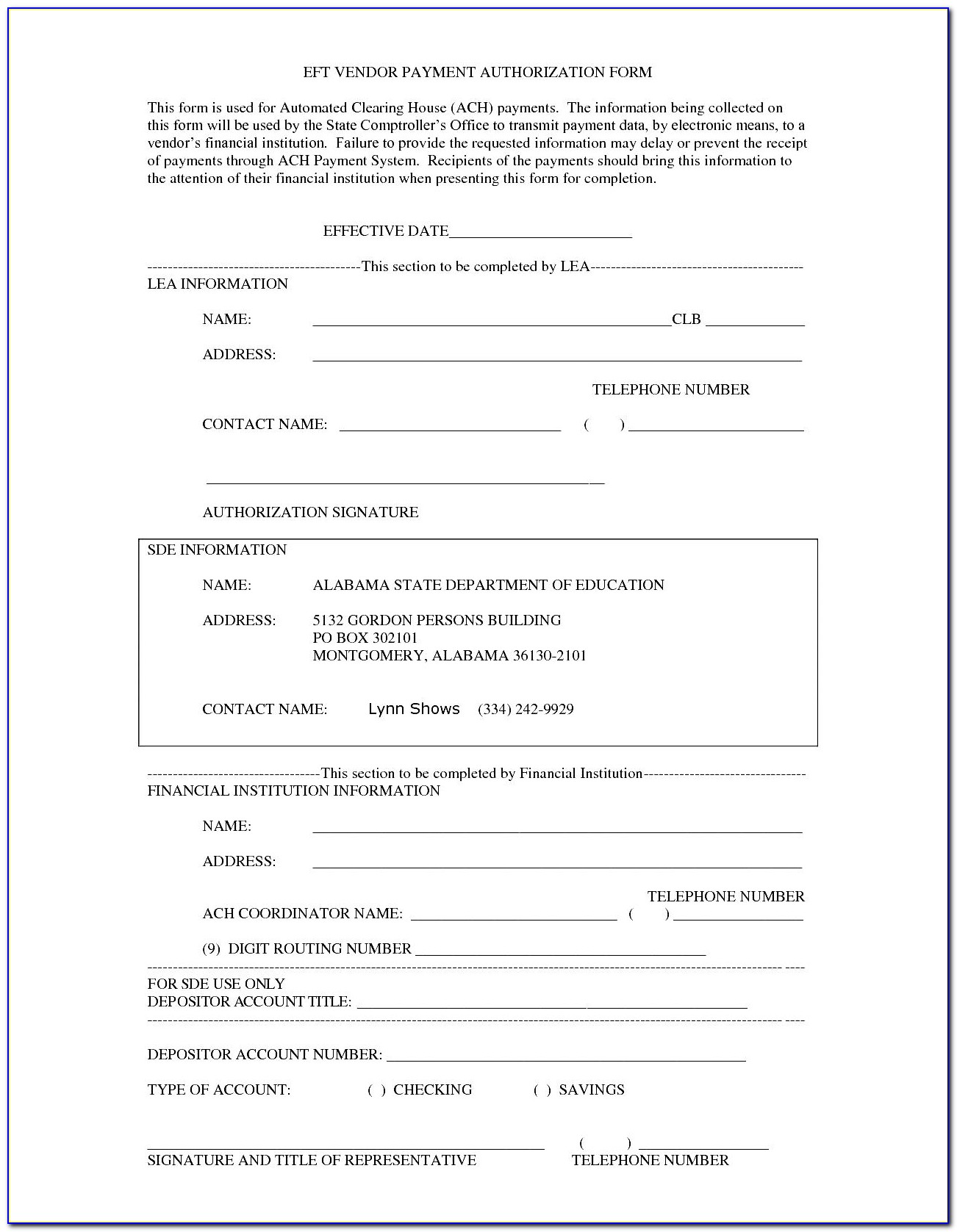 Payment Authorization Form Template