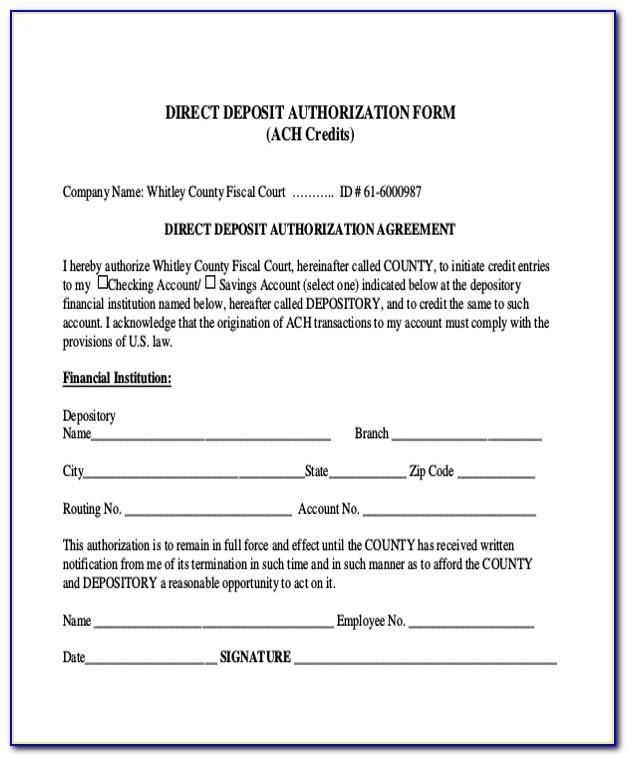 Ach Deposit Authorization Form