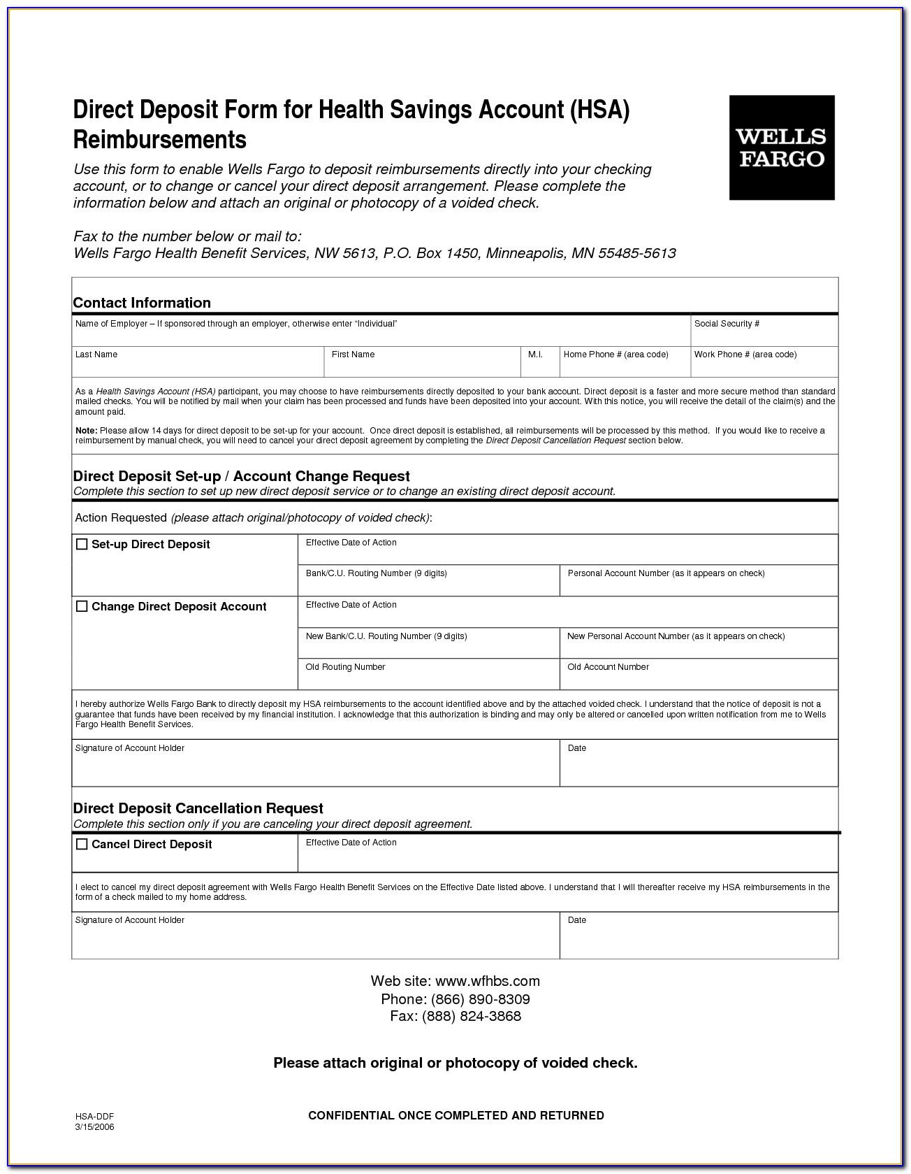 Ach Direct Deposit Authorization Form Template