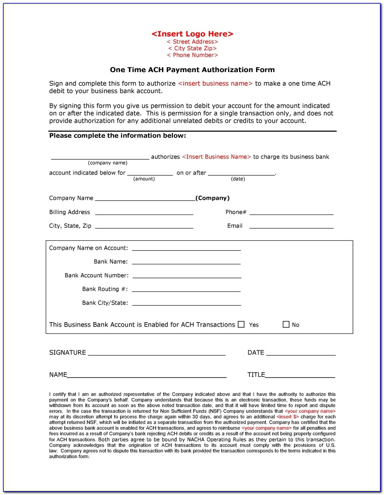 Ach Vendor Payment Information Form