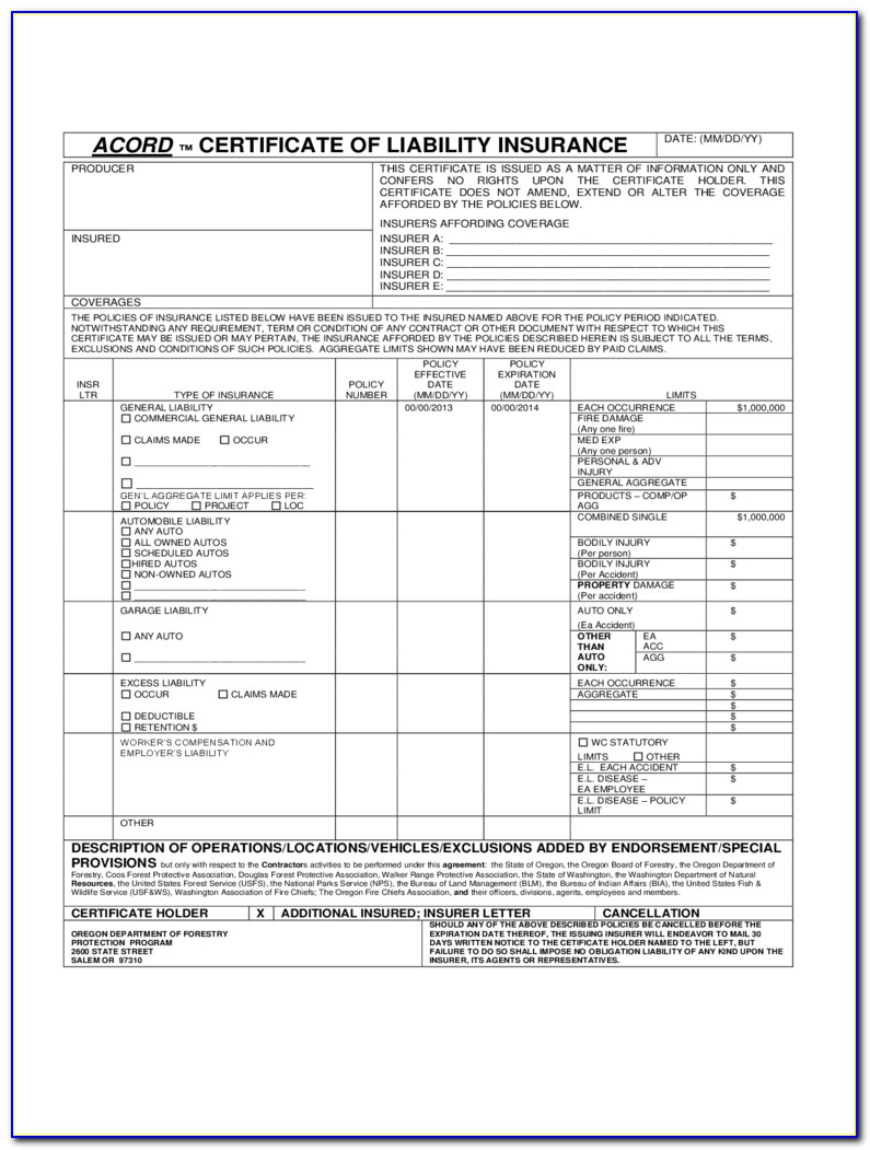 Acord Certificate Of Liability Insurance Fillable Form