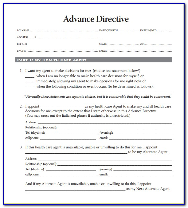 Advance Healthcare Directive Form California Spanish - Form ...