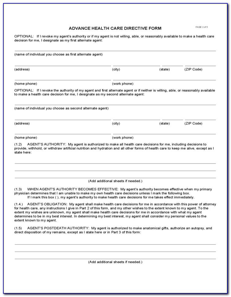 Advance Healthcare Directive Form California