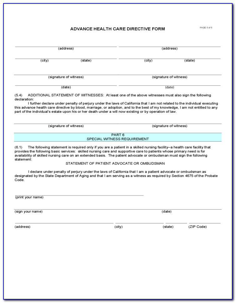 Advance Healthcare Directive Form Tennessee