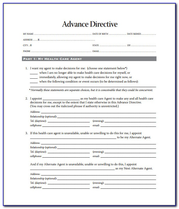 Advance Healthcare Directive Form Texas