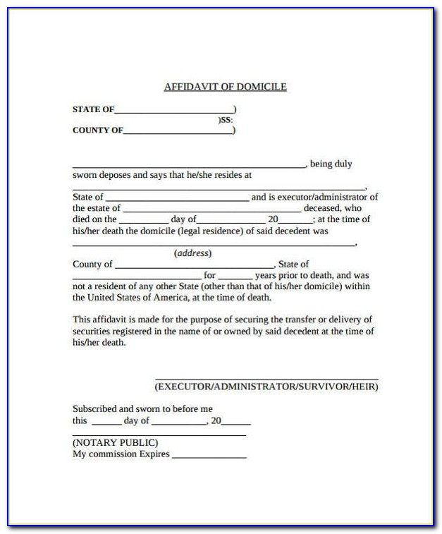 Affidavit Of Domicile Form Pdf