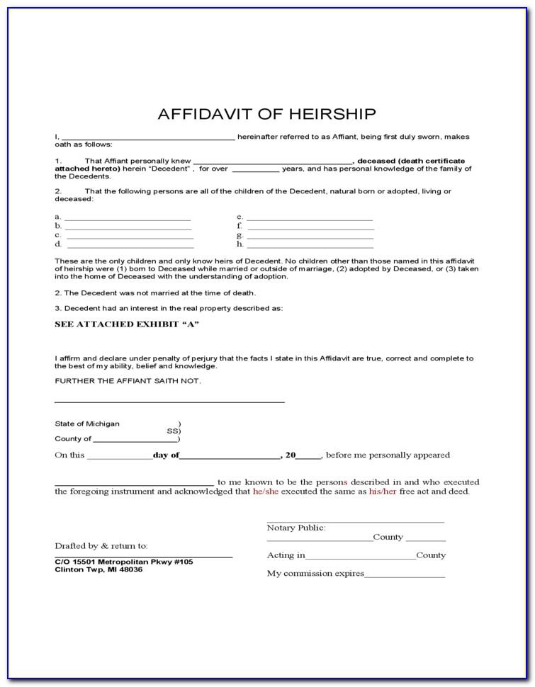 Affidavit Of Heirship Form Florida
