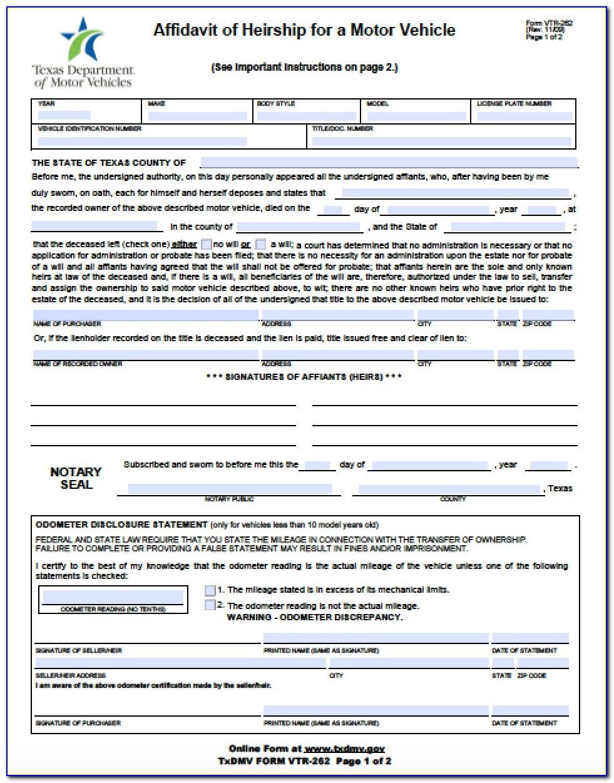 Affidavit Of Heirship Form Vtr 262