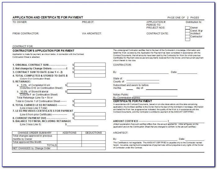 Aia G702 Application For Payment Template For Excel Aia Format Invoice
