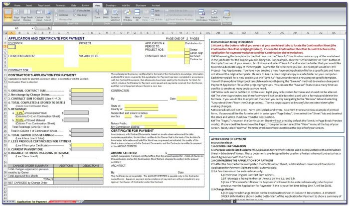 Aia G702 Application For Payment Template For Excel Aia Invoice Template