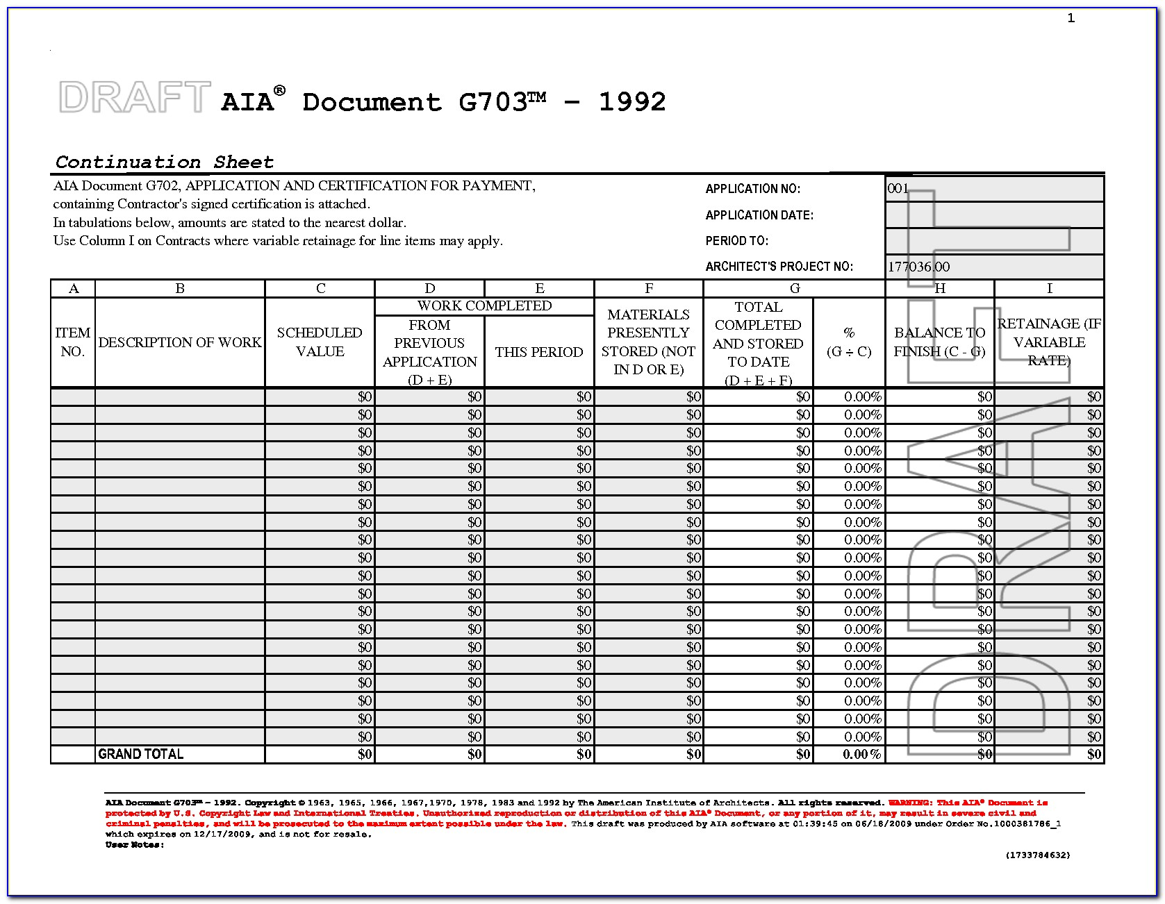 Aia Form G703 Schedule Of Values