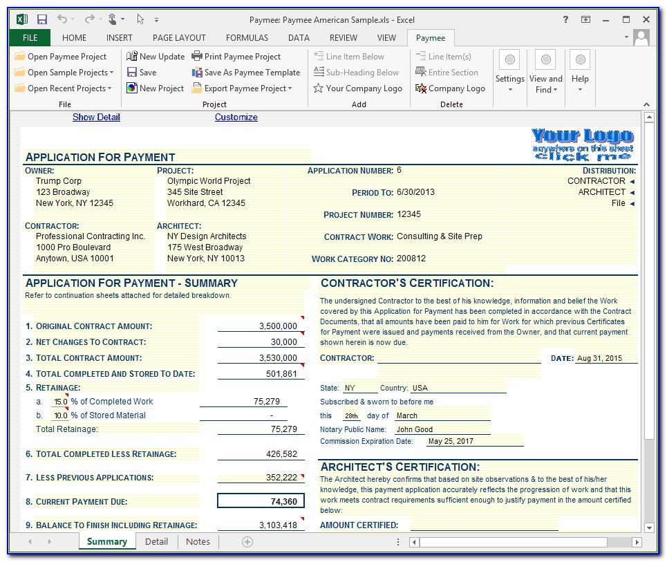 Aia Standard Invoice Form