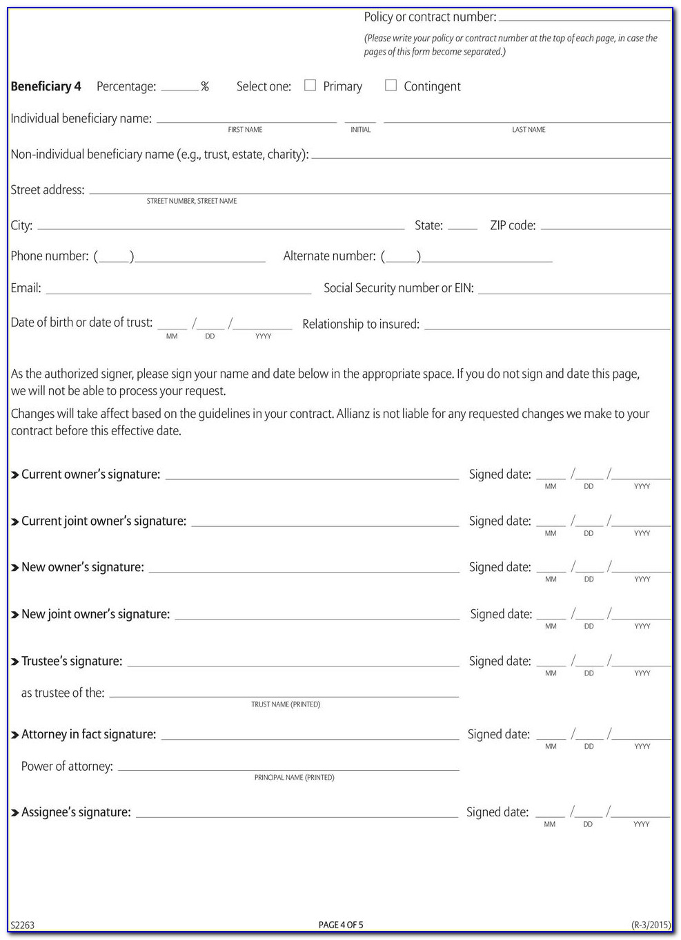 Allianz Annuity Beneficiary Forms