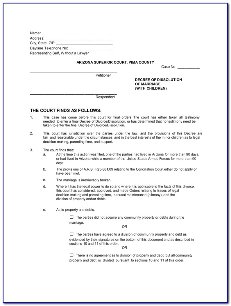 Arizona Divorce Forms Pdf