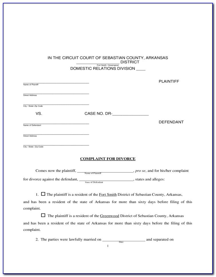 Arkansas Divorce Forms Pdf