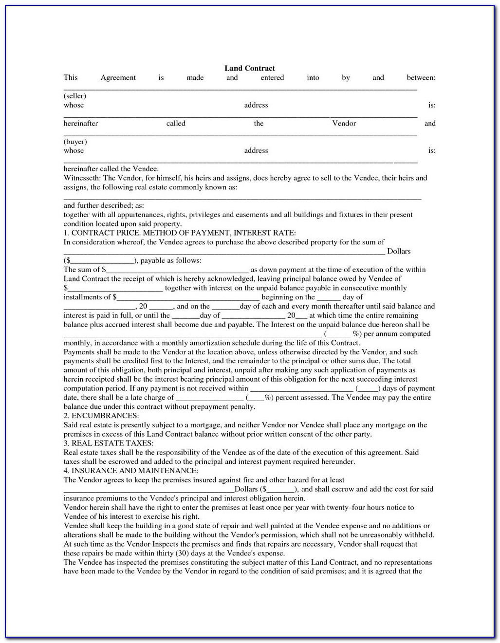 Assignment Of Land Contract Form Michigan