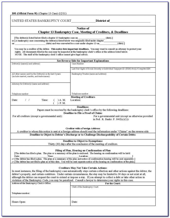 Bankruptcy Forms Chapter 7 Oregon
