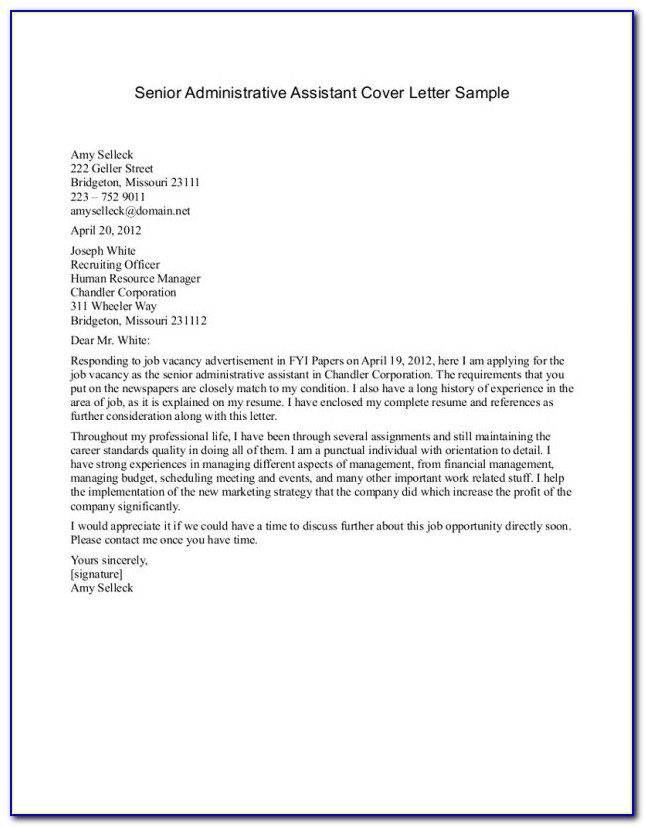 Cover Letter Administrative Assistant Cover Letter Templates Live Career Resume Builder 2017