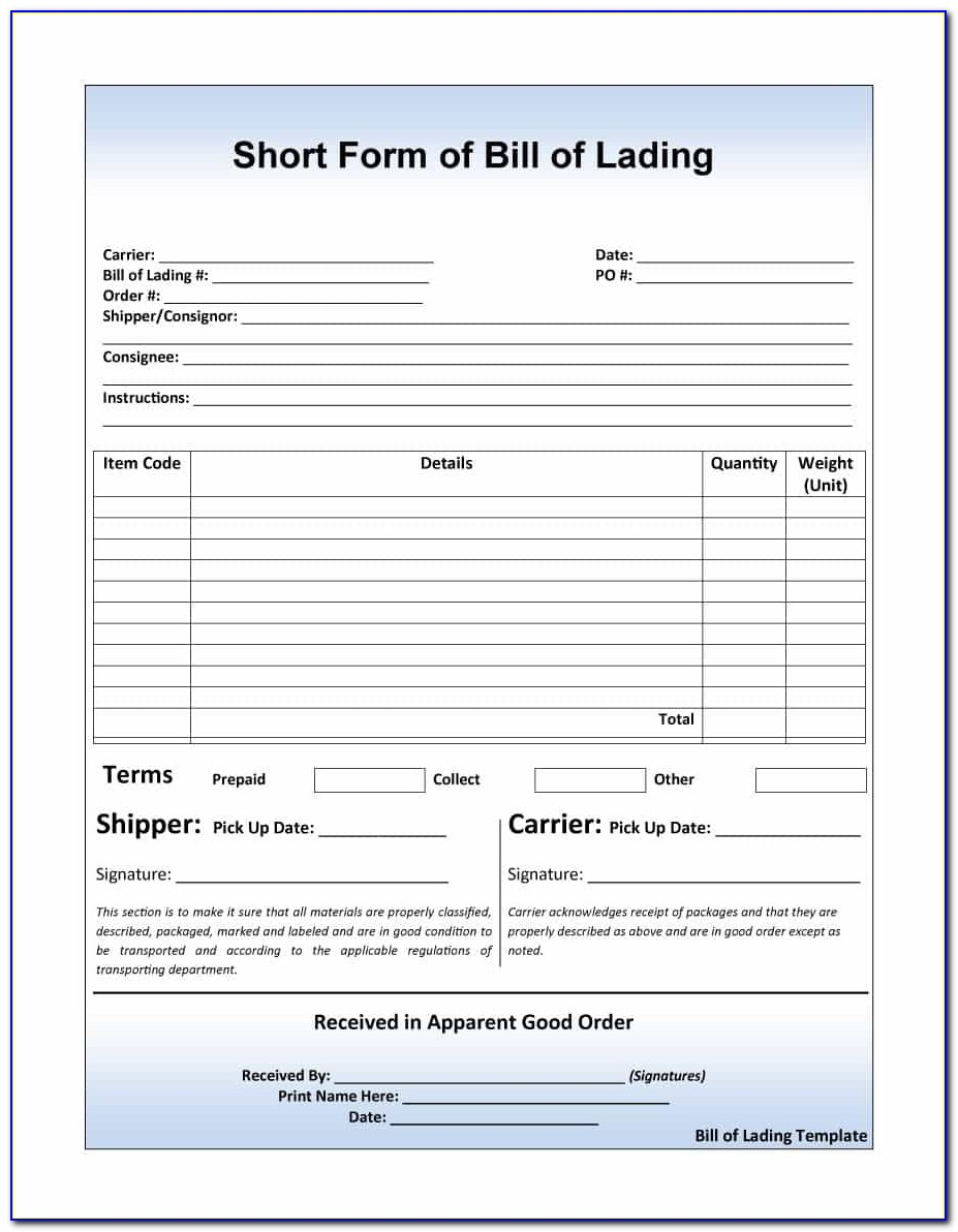 Bill Of Lading Short Form Template Free