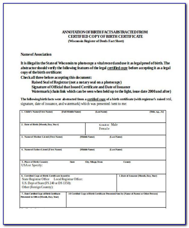 Blank Birth Certificate Form Pdf