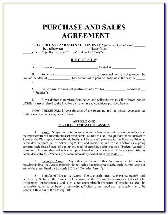 Blank Home Purchase Agreement Form