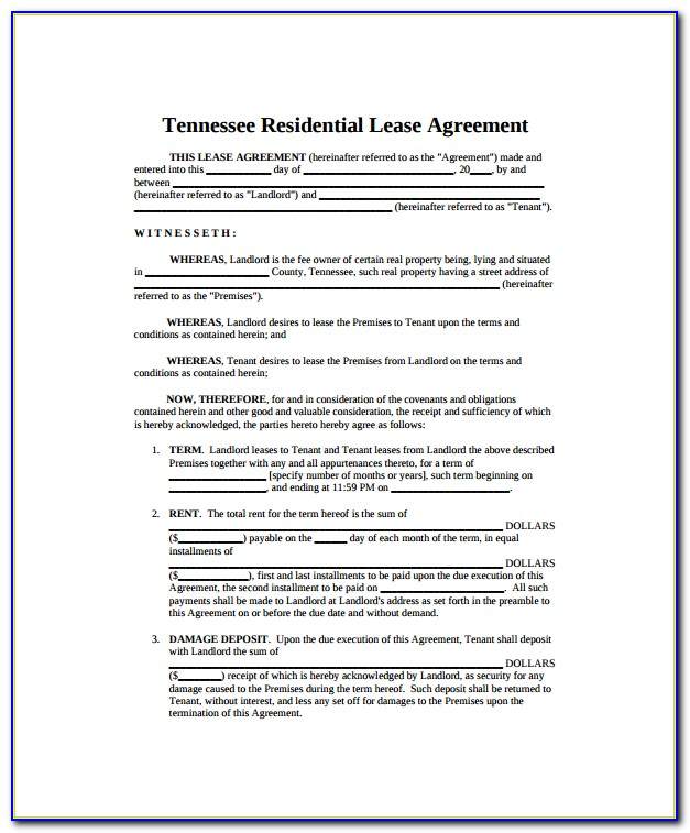 Blank Hunting Lease Form
