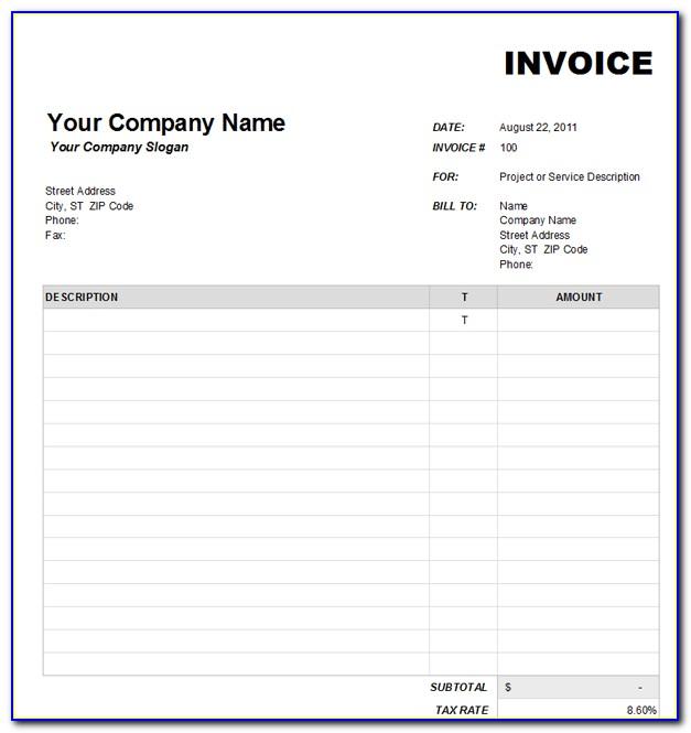 Blank Invoice Form Pdf