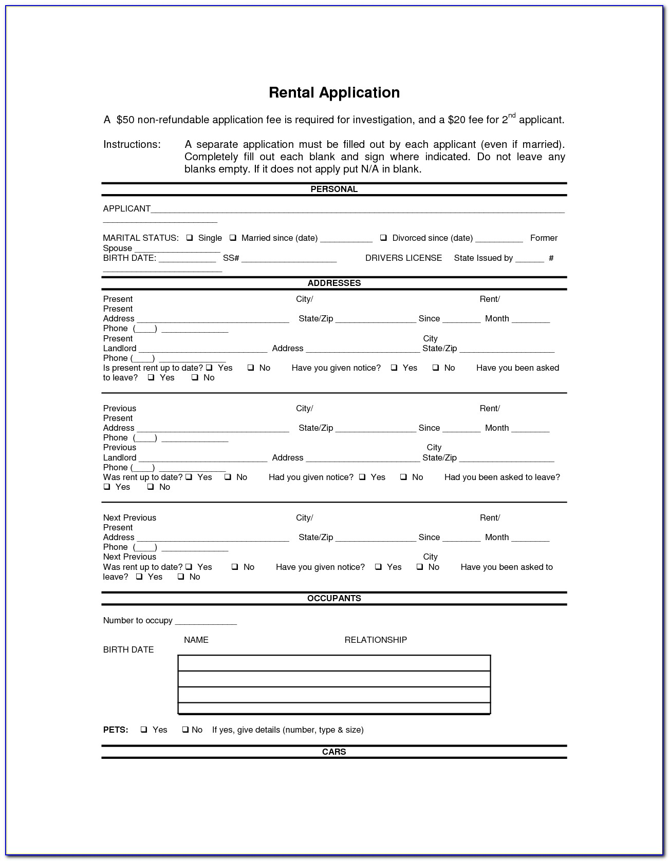 Doc.#592799: Printable Rental Agreement Forms – Free Rental Forms With Free Printable Rental Application