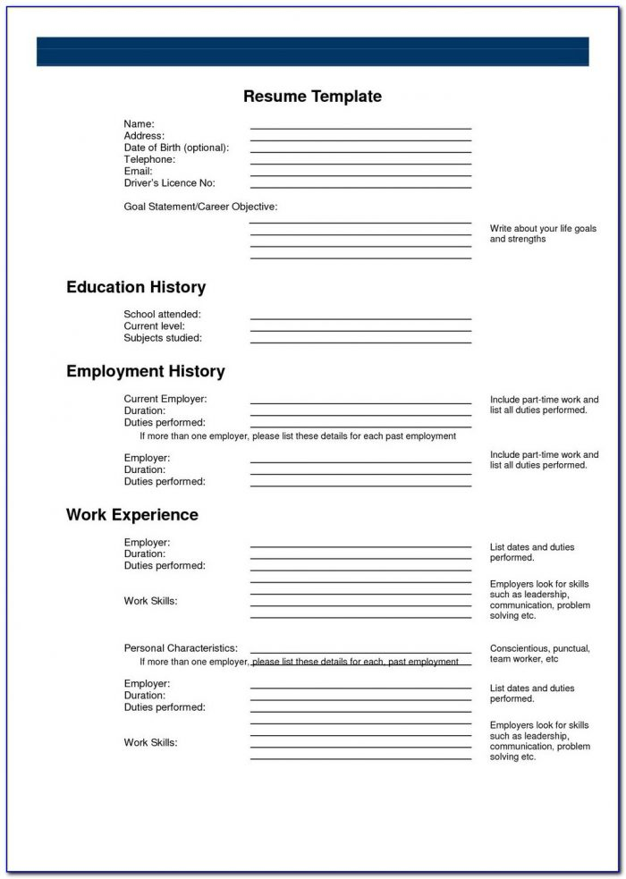 Blank Resume Form Download