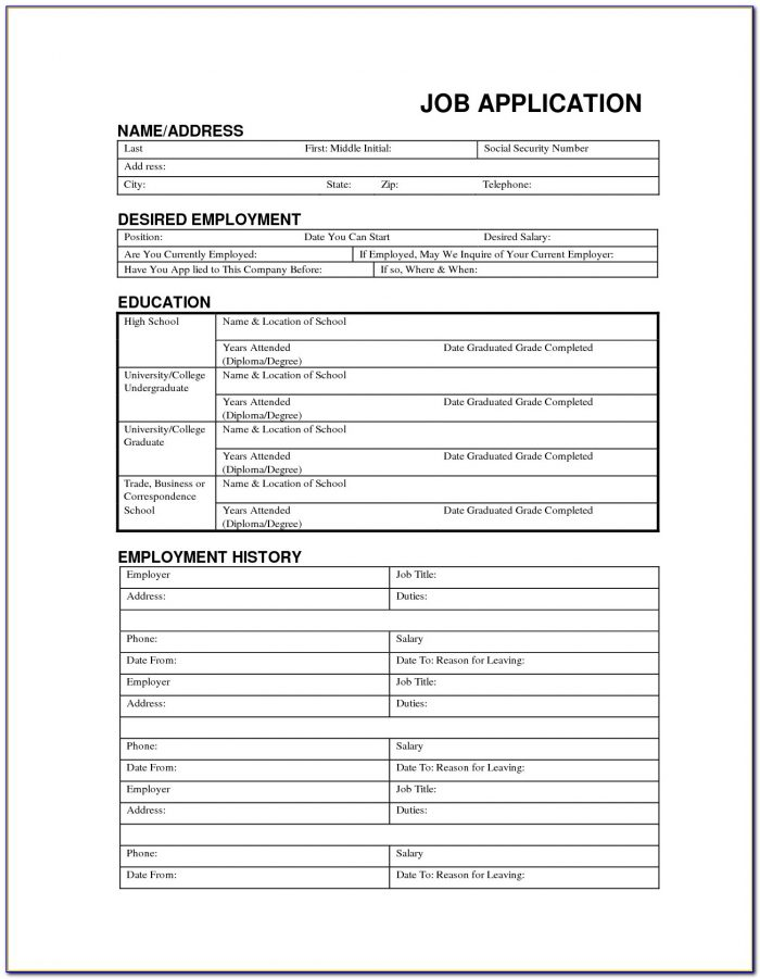 Blank Resume Form Free Download