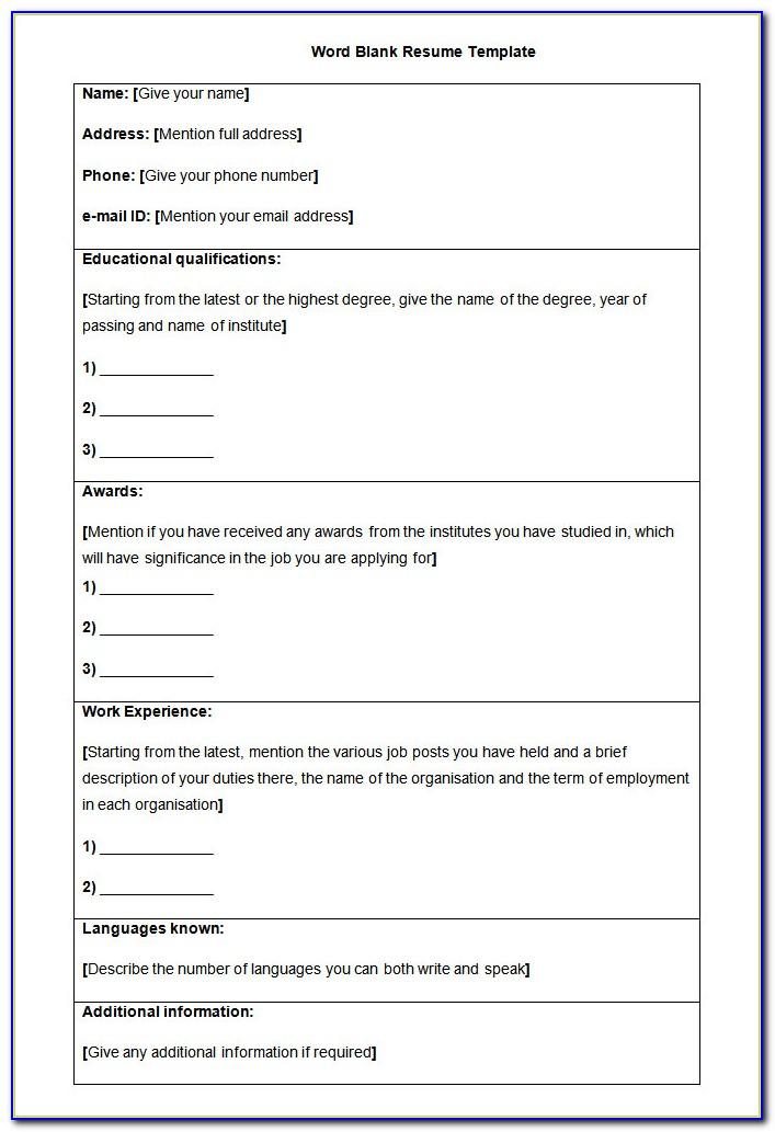 Blank Resume Format Download In Ms Word