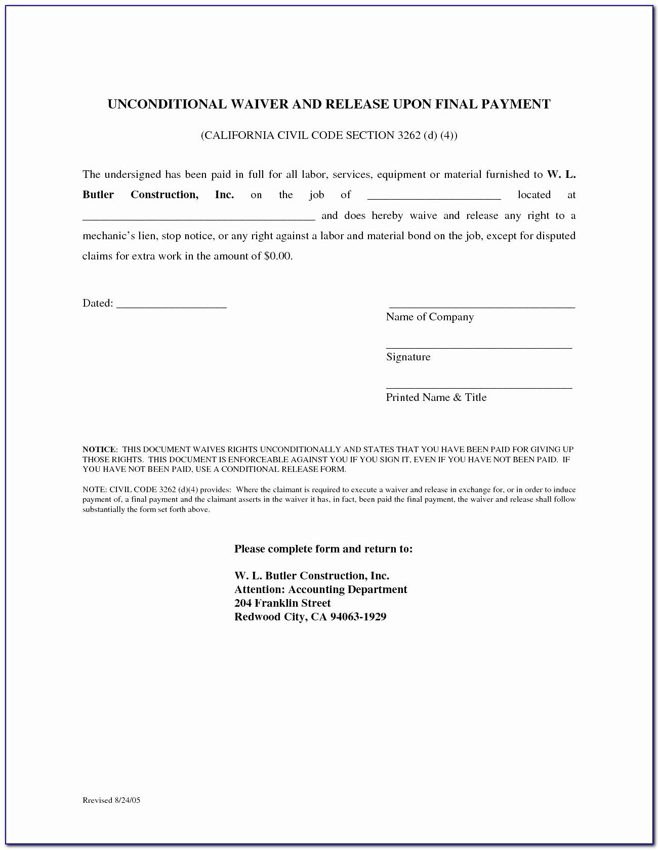 Lien Release Letter California Mechanics Lien Form Unique Lien Release Letter Template
