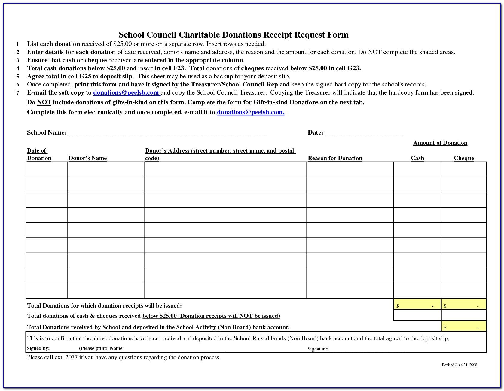 Charitable Donation Form Receipt