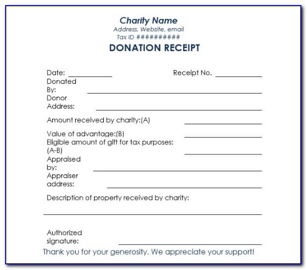 Charitable Donation Receipt Form Template