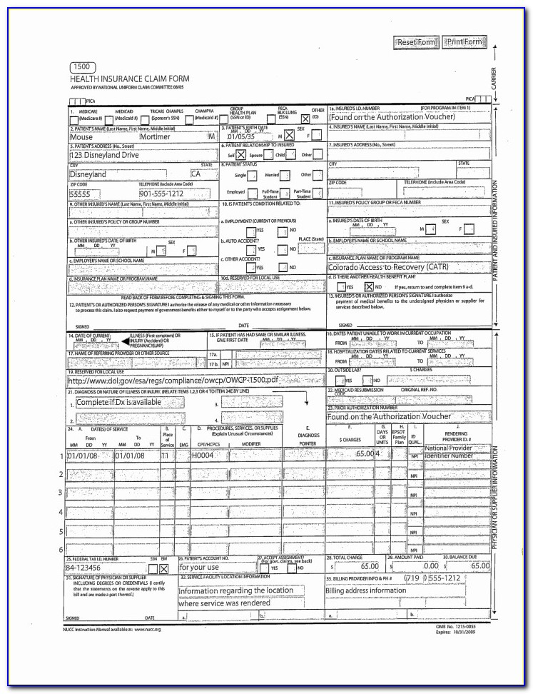 Cms 1500 Claim Form Pdf Inspirational Fillable Cms 1500 Best Free Claim Form Bomp