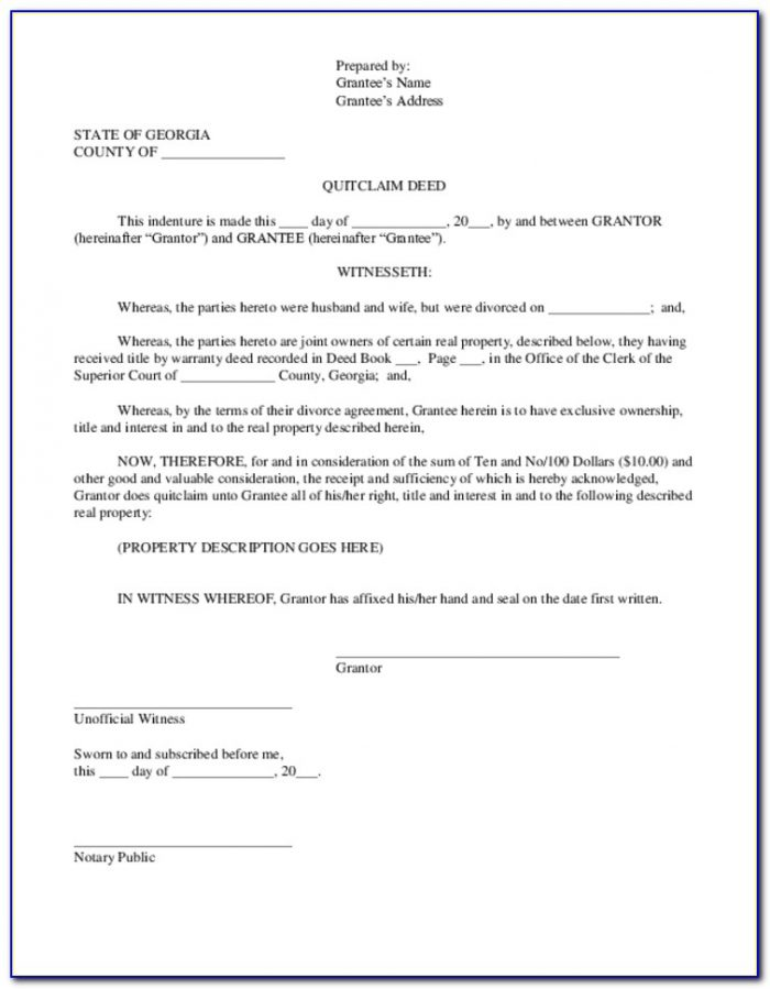 Cobb County Georgia Quit Claim Deed Form