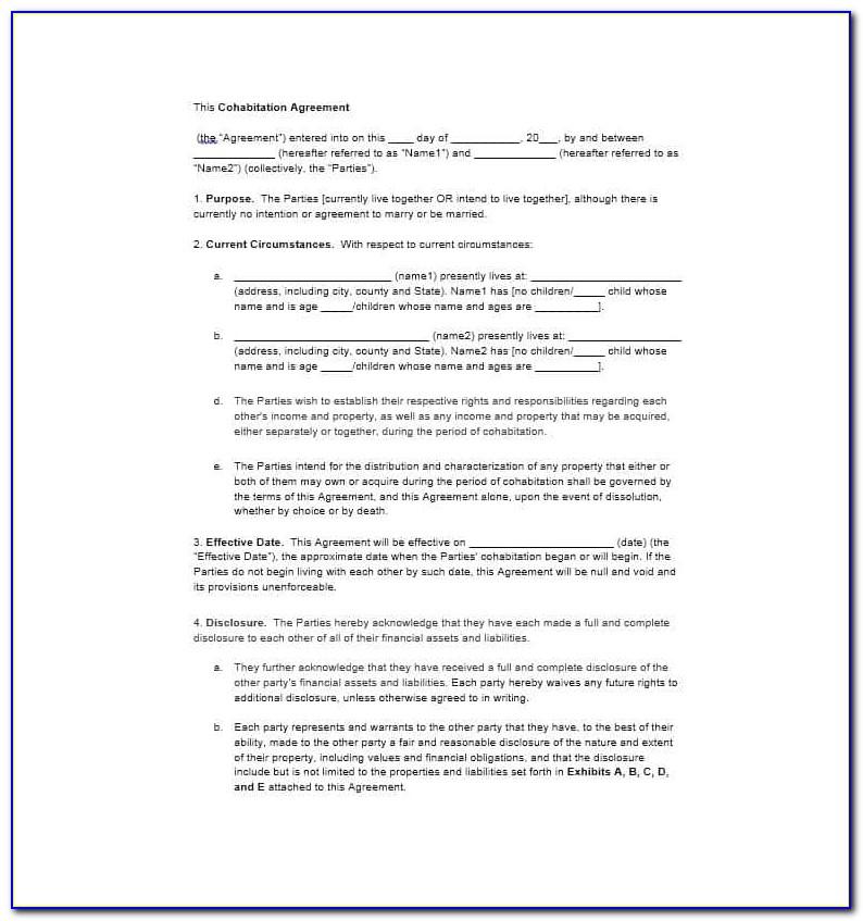 Cohabitation Agreement Form Canada