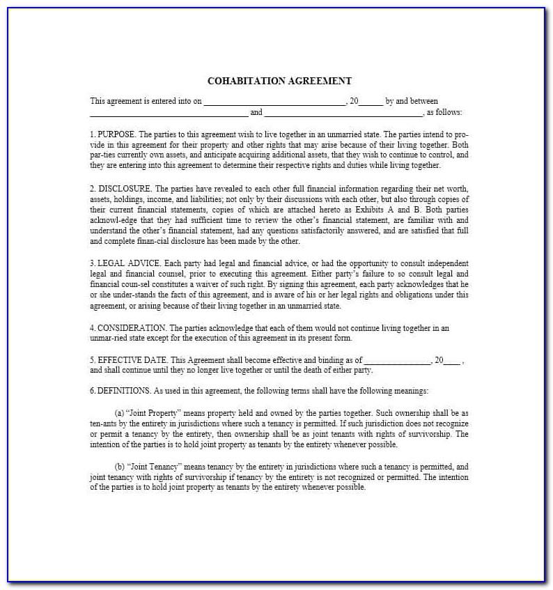 Cohabitation Agreement Form Ontario Canada