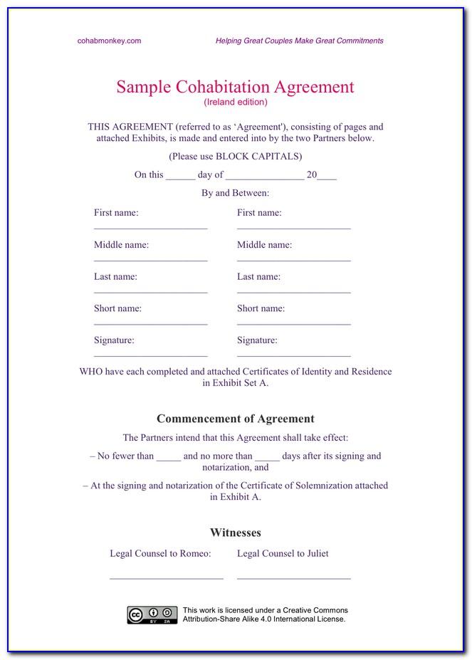 Cohabitation Agreement Form Pdf