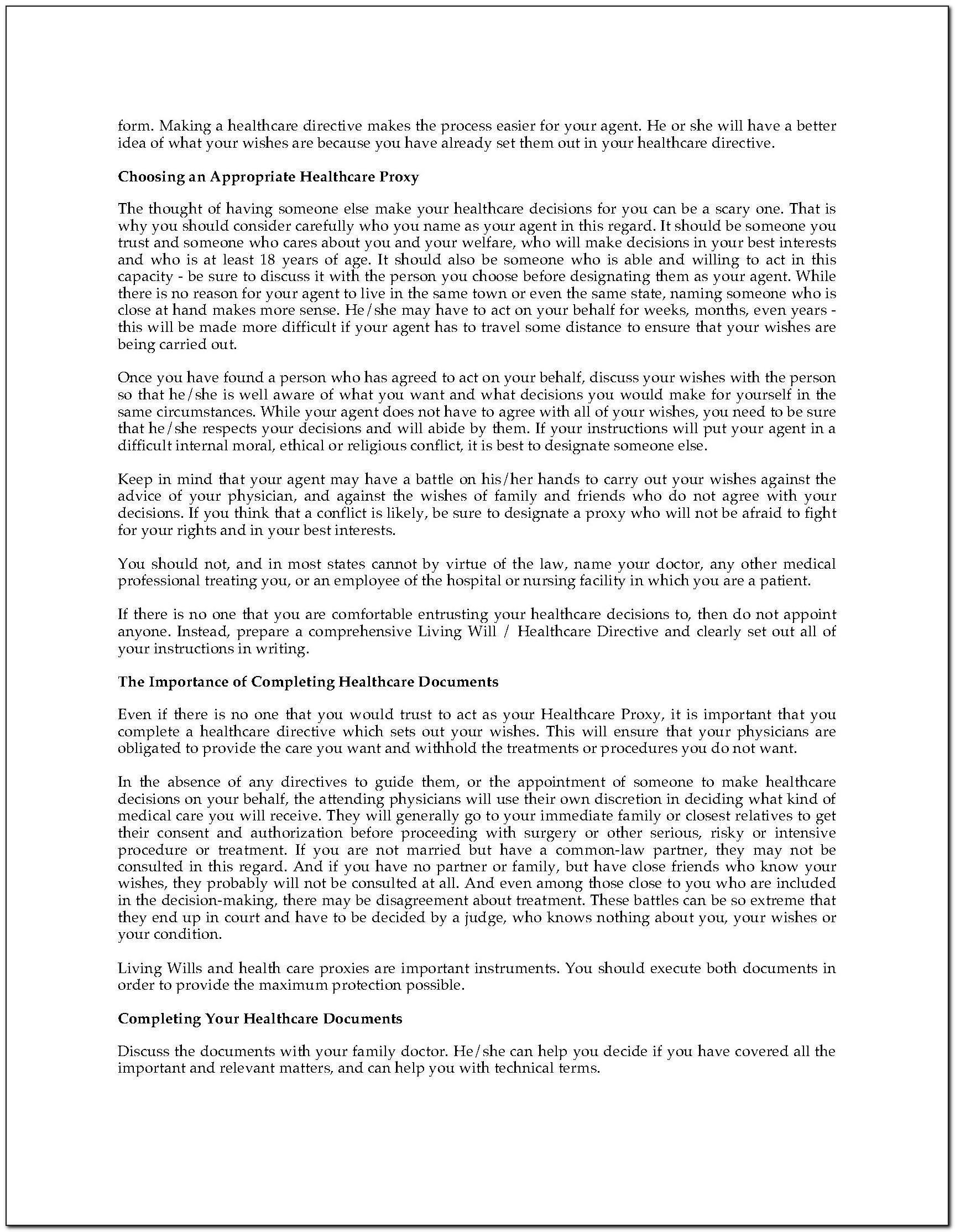 Colorado Advance Directive Form