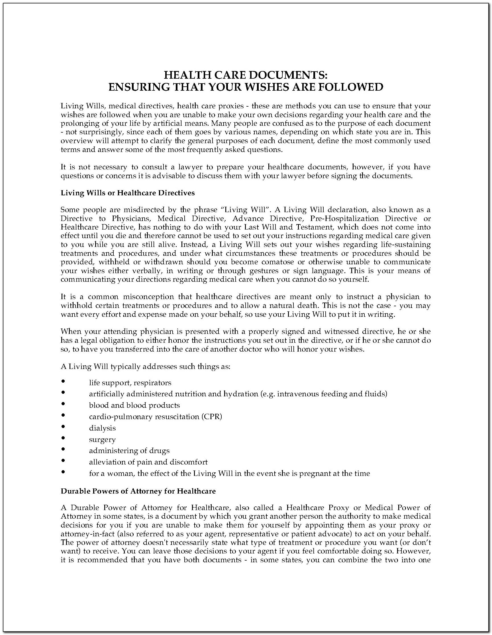 Colorado Advance Healthcare Directive Form